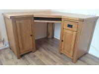 Solid Oak Corner Home Office Computer Desk