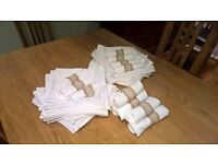 10 Round white table cloths 90 inch/ 225 cms diameter and 94 white napkins 22 x 22 inches