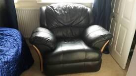 Black leather lazy boy armchair