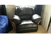 Black leather lazy boy armchair