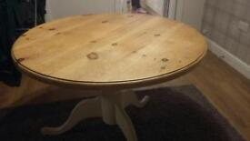 Solid wood round dining table £80