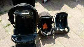 GRACO duo tandem buggy/car seat/isofix base