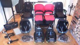 LTD ED CORAL RED BUGABOO DONKEY TWIN+2 MAXI COSI CABRIOFIX CAR SEATS & MANY EXTRAS-RRP£2000.00