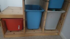 Ikea Birch storage with storage boxes