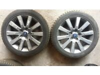 Ford Focus CC alloy wheels with nearly new tyres. Size 205 x 55 x 17. Scuffed but suitable as spare