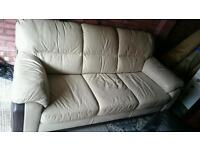 Cream and brown 3 seater sofa