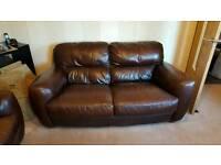 2 x 2 seater Italian leather sofas