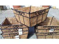 HANGING BASKETS X 6 BLACK METAL FRAMED WITH CHAINS AND HOOKS