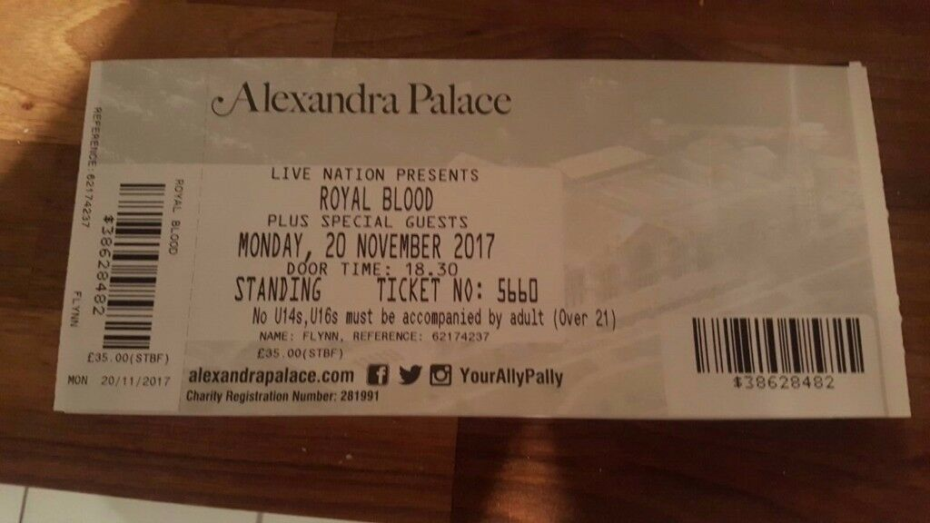 2 x Royal Blood Tickets - Standing - Monday Nov 20th Alexandra Palace