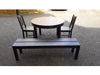 Ikea BJURSTA Round Extending Table 155/166cm 2 Chairs & 1 Bench FREE DELIVERY (03008)