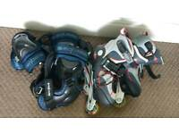 Kids Inline Roller Skates & Pads Adjustable size 31-33