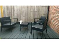 Rattan effect garden table and chairs
