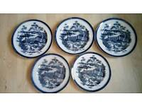 5 old Blue and white Thomas Till plates