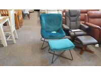 Mila Velvet Accent Chair & Stool – Teal Can Deliver