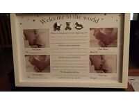 BAMBINO ' WELCOME TO THE WORLD' UNISEX PHOTO FRAME - NEW IN BOX