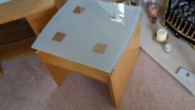 BEECH SMALL TABLE, LAMP TABLE, JOHN E COYLE
