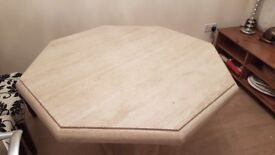 HEXAGONAL MARBLE TABLE AND 4 CHAIRS