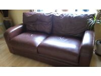 Dark leather sofa x 2