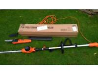 Pole. Hedge trimmer and chainsaw
