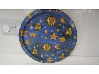 X 2 Blue Dinner Lap Serving Trays - Sun and Moon Design
