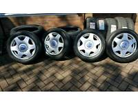 """16"""" VW Alloy wheels and 205 55 16 tyres off a beetle but will fit golf bora A3 Fabia polo 5x100"""
