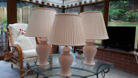 3 Saint Michael Peach Lamps ...2 are 65 cm high the other one is 56 cm