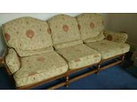Ercol three piece suite & footstool