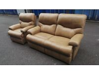 Sherborne cream/Light brown leather reclining 2 piece suite Delivery Available