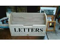 Beautiful wooden letter rack desk rack with small drawer