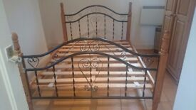 Double Bed Frame Iron / Wood