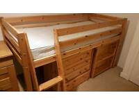 Single bunk bed with drawers and shelf
