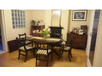 Oval extendable table with 6 chairs
