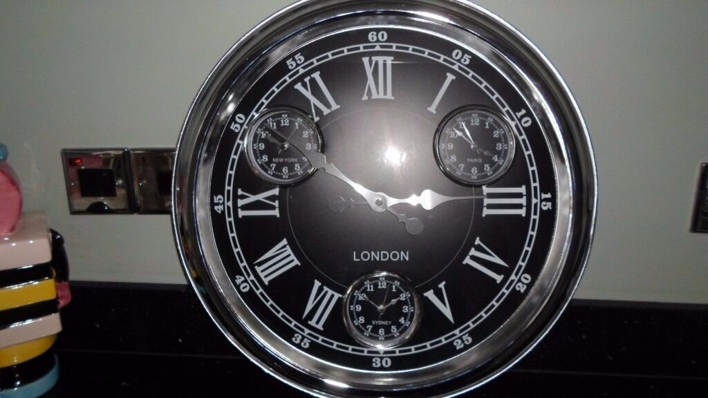 Large Chrome Vintage 1950 S Style London Multi Dial Clock