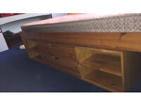 King size bed frame with mattress and under bed storage