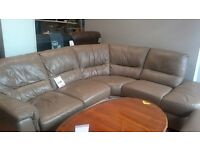 Tan Leather corner suite with armchair and footstool