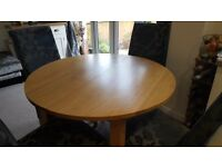 Solid Oak Round Extending Dining Table Excellent Condition