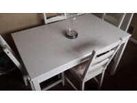 WHITE OAK STYLE DINING TABLE & 4 CHAIRS (with detachable cushions) - £90