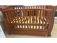 Dark wood sleigh cot bed
