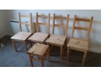 IKEA 4 chairs + stool / Good condition / Offers accepted