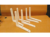 Wall brackets - heavy duty - 2.7cm wide - 20cm long - white - 6 in total £10