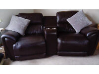 Harvey's 2 seater brown leather sofa with centre storage and 2 cup holders plus chair £01294221887