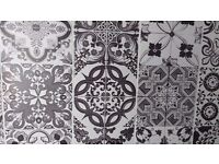 Five ceramic tiles Black and white with 3 designs per tile