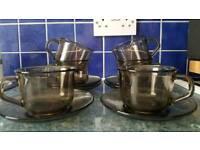 Brown glass tea set