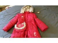 Red coat with bag