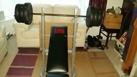 Pro power bench and weights 65kg.