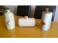 Collection of antique stoneware hot water bottles