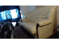 3 Seater Sofa, 1 Seater, Cream Coloured - (USED)