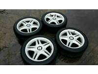 Seat leon cupra R 17inch alloy wheels and tyres. 5x100 (polo, golf mk4, seat ibiza)