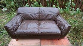 Two Brown Leather sofas for sale