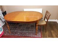 French rosewood extendable dining table and 4 chairs, good condition but 2 chairs with minor damage